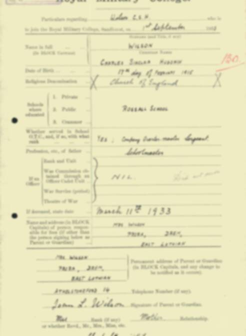 RMC Form 18A Personal Detail Sheets Feb & Sept 1933 Intake - page 312