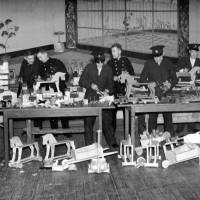 Bootle Firemen making children's toys, 1943