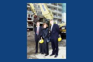 Siobhan McDonagh & Tony Coleman outside a block under demolition, Phipps Bridge Estate, Mitcham
