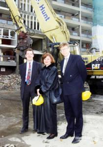 Siobhan McDonagh & Tony Coleman outside a block under demolition, Phipps Bridge Estate, Mitcham