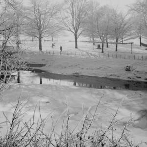 339 - Winter view overlooking river and King George V's Playing Fields