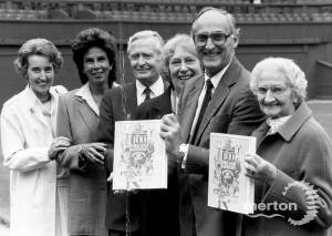 A sports commentator launching a new tennis book at the All England Club