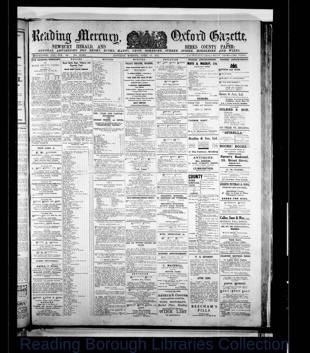 Reading Mercury Oxford Gazette Saturday, April 14, 1917. Pg 1