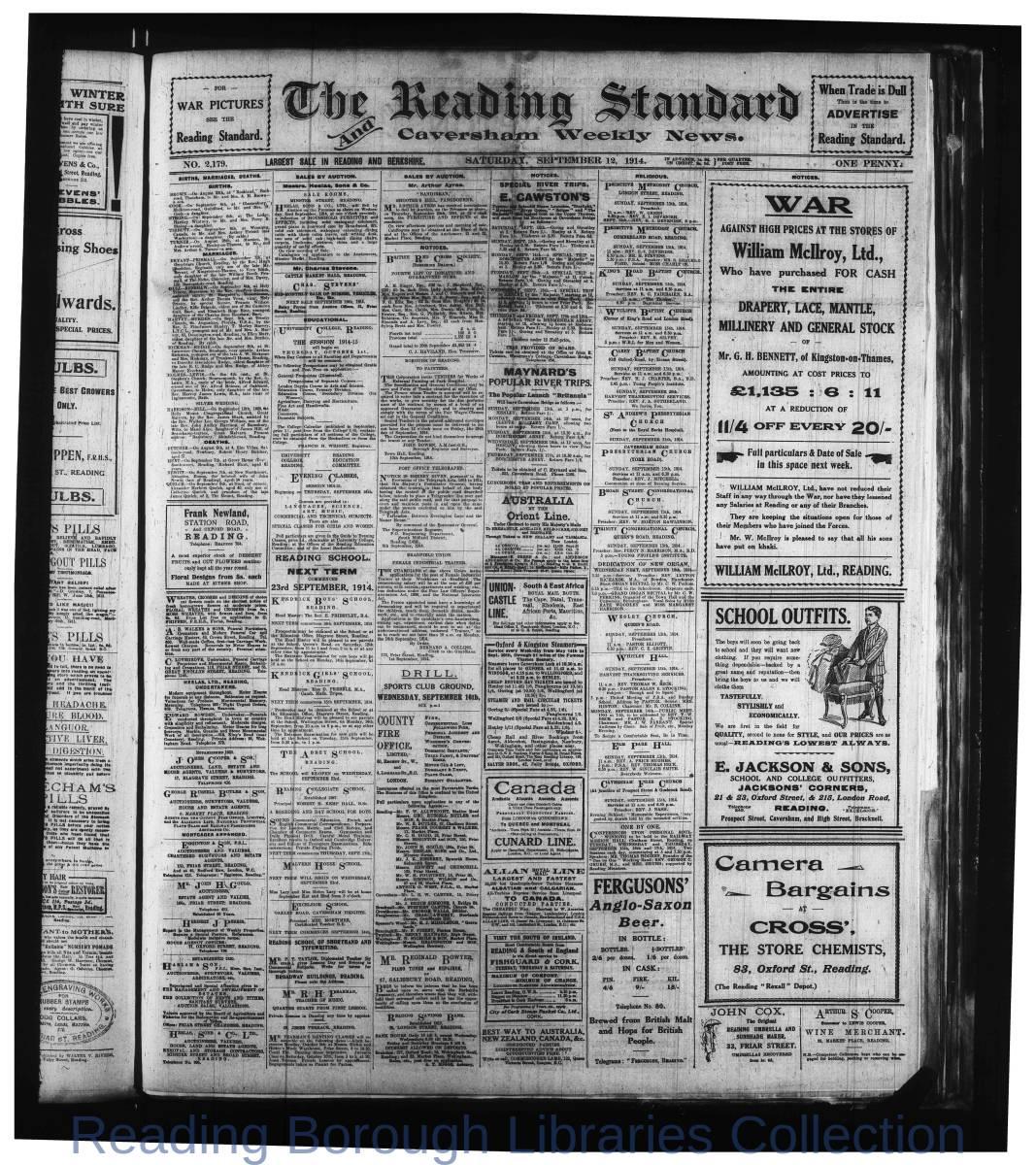 Reading Standard, Saturday, September 12,  1914. Pg 1