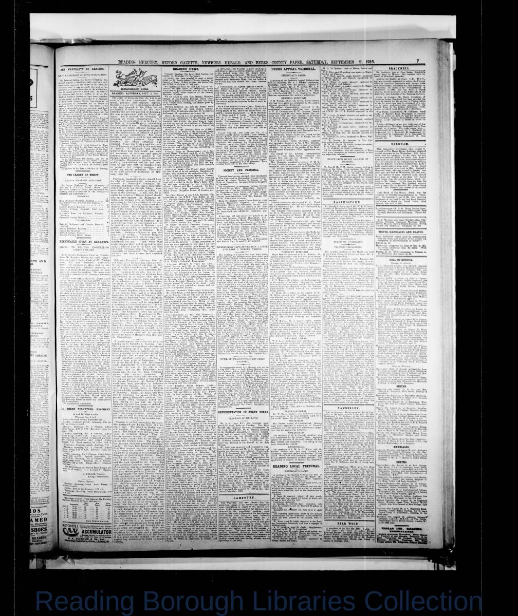 Reading Mercury Oxford Gazette  Saturday, September 2, 1916. Pg 7