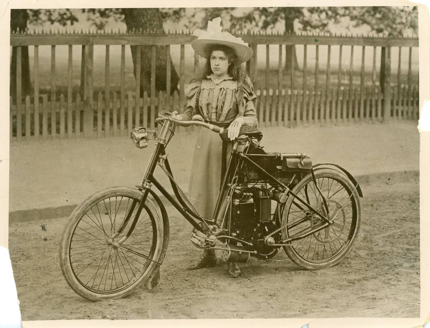 Lawson's motorcycle held by Kitty's mother in 1908