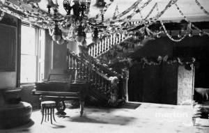 Morden Hall, Morden, entrance Hall with Christmas decorations