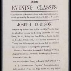 Joseph Coulson, Evening Classes