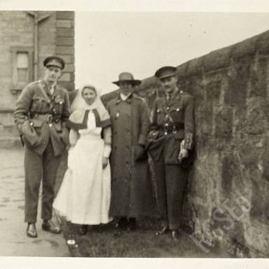Patients, Nurse and Unidentified Lady (possibly matron) in Hospital Grounds