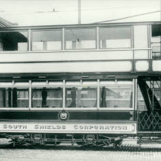 Tram in depot yard