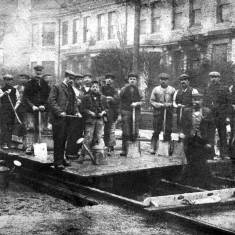 Laying tramway tracks in Ocean Road