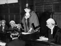 Councillor Mrs Evelyn G Baker, the newly appointed Mayor of Mitcham, signs the declaration of office