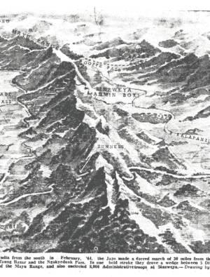 Arakan Map showing mountains