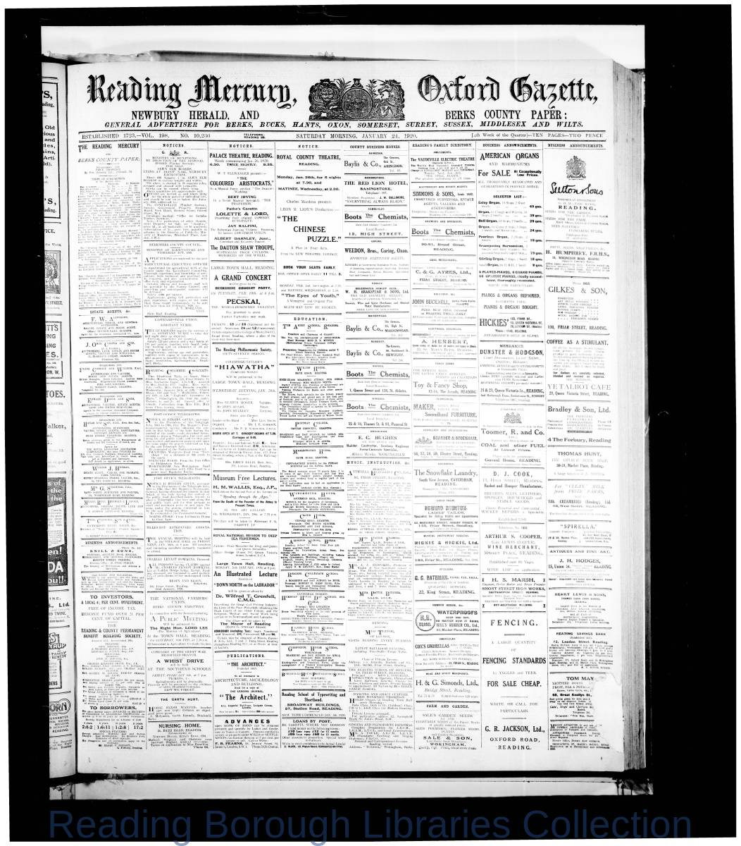 Reading Mercury Oxford Gazette Saturday , January 24,1920.  Pg 1