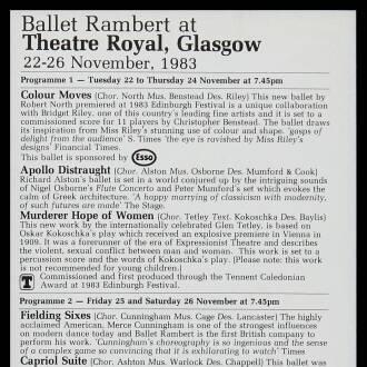 Theatre Royal, Glasgow, November 1983