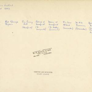 Three Choirs Festival, Hereford, 1949 - Reverse of photograph with names