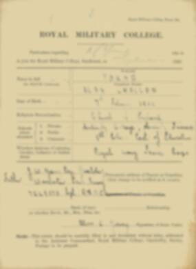 RMC Form 18A Personal Detail Sheets Feb & Sept 1933 Intake - page 1