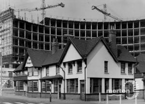 London Road: Building Crown House and Crown Pub, Morden