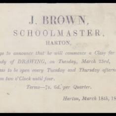 J Brown, Schoolmaster