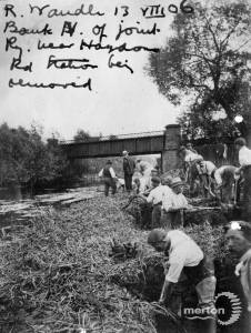The removal of part of the riverbank near Haydons Road Station.