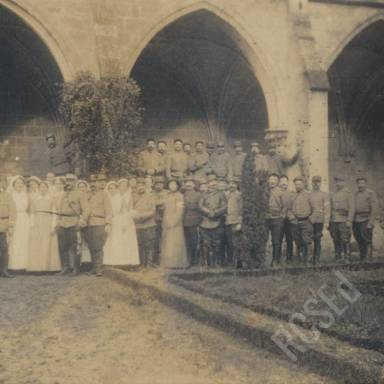 Group Photograph of Scottish Women's Hospitals Staff and French Dragoons in Abbey Grounds