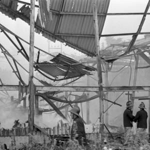 Aftermath of Hop Kiln Fire at Thinghill Farm Withington, Herefordshire 1969