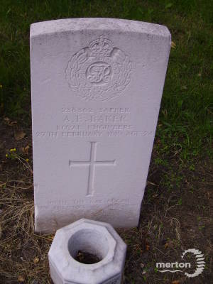 Gravestone of Albert E Baker