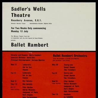 Sadler's Wells Theatre, London, July 1964