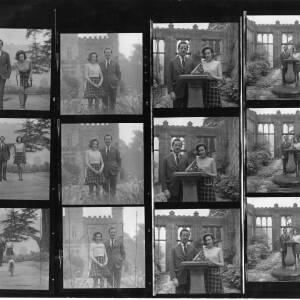 A contact sheet - Viscount Hereford and fiance Miss Susan Mary Godley.
