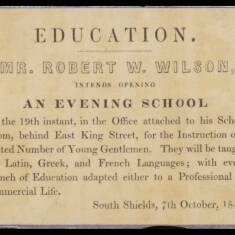 Robert Wilson, Evening School