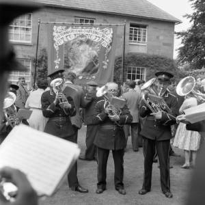 Brass Band plays at the Fownhope Heart of Oak Club Walk, 1960