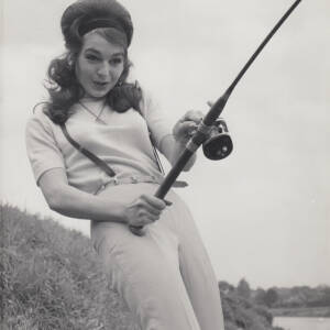 Diana Day fishing on the River Wye.