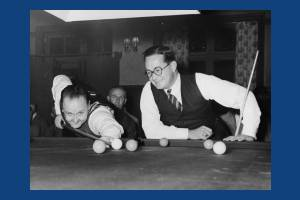 Herbert Holt and Horace Lindrum, an exhibition match at the Leather Bottle, Merton Park