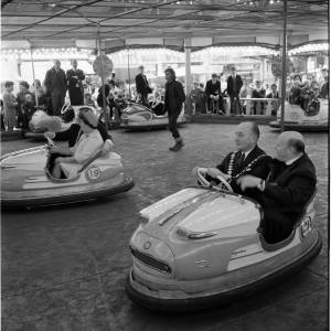 The Bishop rides Deakin's Dodgems at the May Fair, 1968