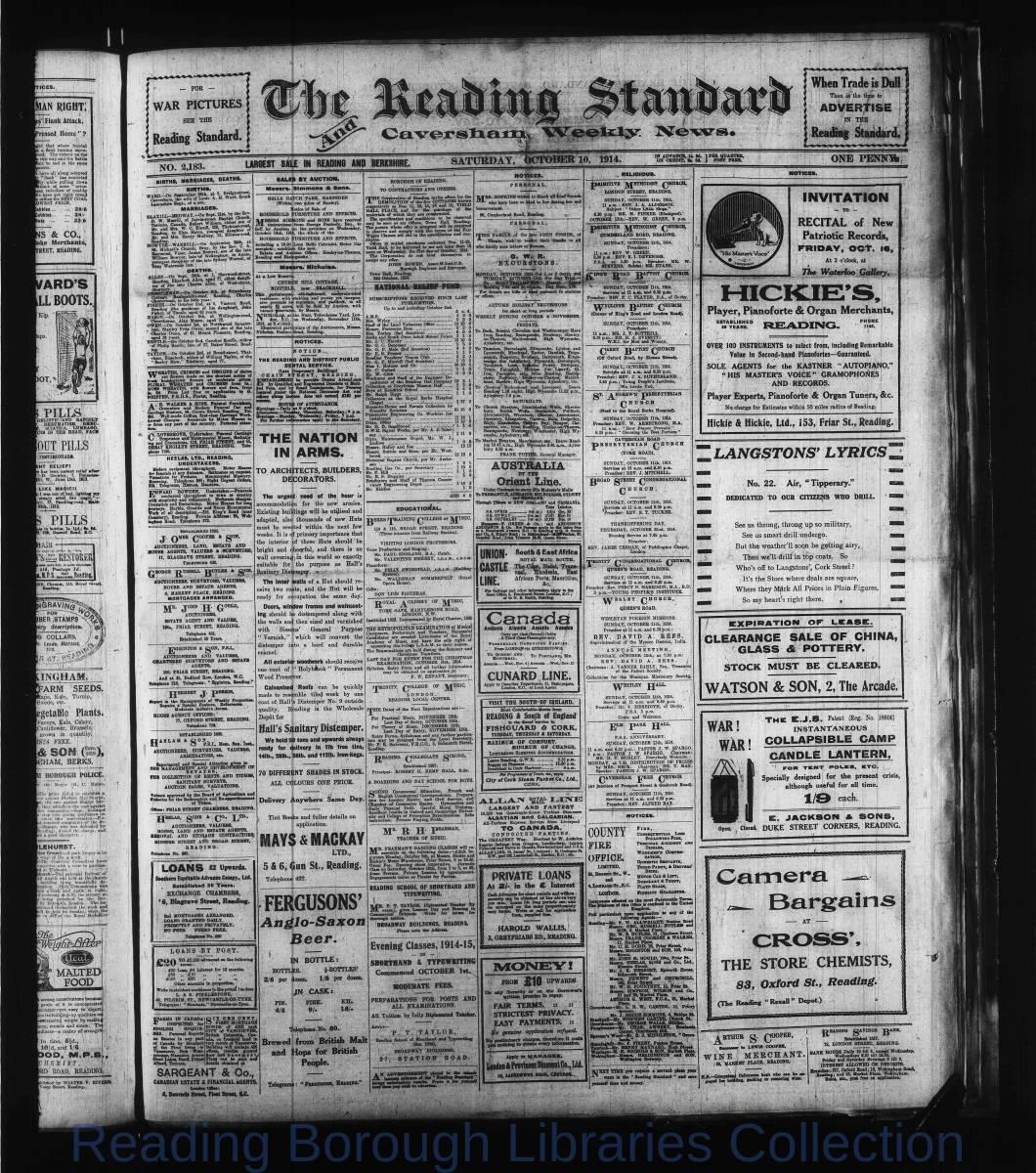 Reading Standard, Saturday, October 10,  1914. Pg 1