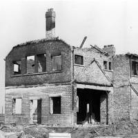 The ruins of Bootle Golf Course Pavilion, destroyed by fire, c1933