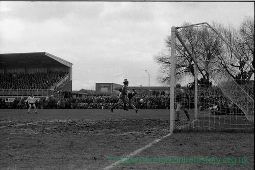 Goalmouth action from the Hereford v Newcastle cup tie, Feb 1972.