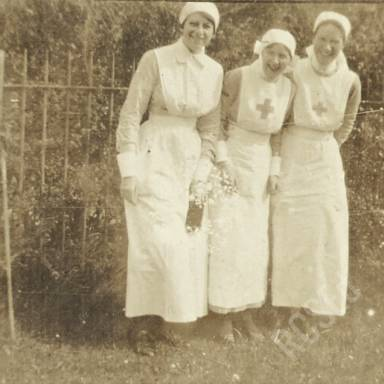 Nurses E.M.W., Kerr and Gerar in Hospital Gardens