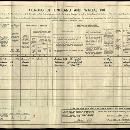 1911 Census for 5 Furzedown Market, Tooting Junction