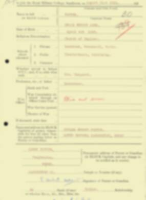 RMC Form 18A Personal Detail Sheets Aug 1934 Intake - page 69