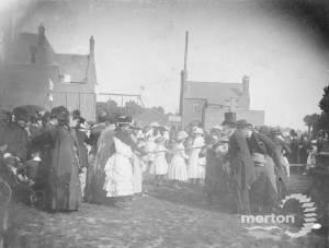 Maypole Dance on Jubilee Day 1897 in front of Lower School