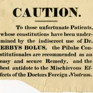Medical Caution, Advert (undated)