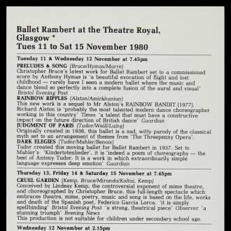Theatre Royal, Glasgow, November 1980