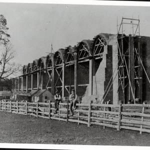 Viaduct at Ledbury under construction, 1861