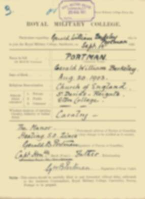 RMC Form 18A Personal Detail Sheets Feb & Sept 1922 Intake - page 114