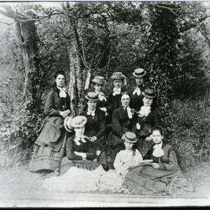 G36-017-05 Group of women; (copy negative) Words on hats 'ROSETTE', 'L.B.A', 'IRENE'.jpg