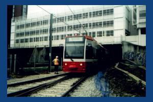 Tram leaving Wimbledon Station