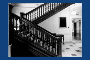 Morden Hall, Morden, staircase from the ground floor entrance