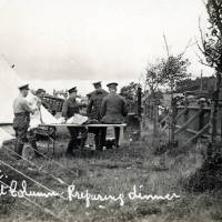 ASC Transport column, Shore Field, Crosby Road, 1914. Preparing dinner.