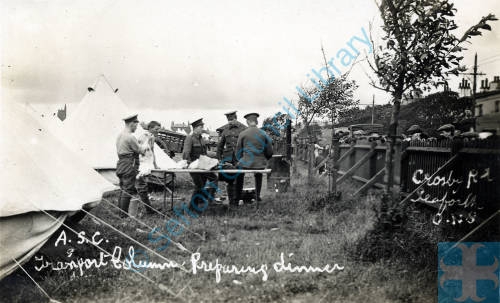 ASC Transport column, Shore Field, Crosby Road, 1914. Preparing dinner.